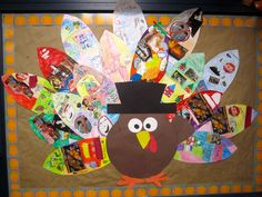 Thanksgiving bulletin board... students decorate the feathers with things they are thankful for. adorable!