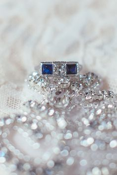 diamond and sapphire engagement ring, photo by Hazelwood Photo http://ruffledblog.com/north-star-ballroom-wedding #weddingring #engagementring
