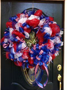 Mesh Wreath:  4th of July Wreath juli wreath, mesh wreaths 4th of july, mesh wreath 4th of july
