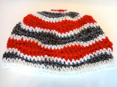 Mens Beanie Wavy Stripes Red Gray White Adult by PreciousBowtique, $12.00
