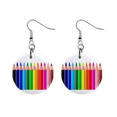 Artist Art Draw Colored Pencils Dangle Button Earrings | Amazon.com