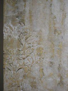 stenciled plaster finish with Corsini Damask by Rebecca Slaton. http://www.royaldesignstudio.com/products/corsini-damask-stencil