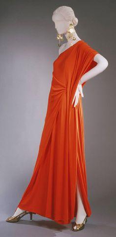 long dresses, halston dress, 1970, evening dresses, fashion, orang, art, museum, evenings