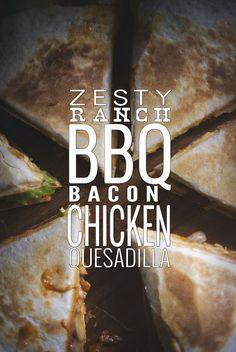 Zesty Ranch BBQ Chicken Quesadilla from GirlCarnivore.com