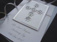 Floral Cross Christening Card