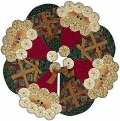 Christmas Tree Skirt (to inspiration...) holiday, sew, craft, santa tree, quilted christmas tree skirts, yoyos navidad, candles, christma tree, christmas trees