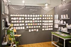grey walls, blackboard, paper, trade show booths, tradeshow booth ideas, store displays, craft show booths, tote bags, booth design