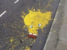 funny awesome street art... there goes SpongeBob!