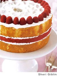 Lemon-Ginger Angel Food and Raspberry-Sorbet Cake
