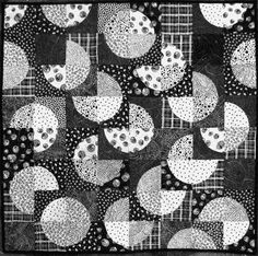 Modern Quilted Wallhanging  Abstract Black by DeneensNeedleWorks