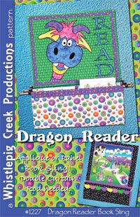 Dragon Reader Book Sling Pattern by Whistlepig Creek at KayeWood.com. The Dragon Reader is an applique or Panel Book Sling sewing pattern. All you need is a double Curtain rod and a little wall space for this guy! http://www.kayewood.com/item/Dragon_Reader_Book_Sling_Pattern/2997 $9.50