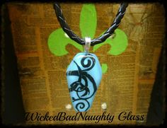 Turquoise Stained Glass Coffin Necklace by wickedbadnaughty