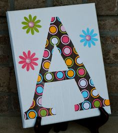 Super cute and easy craft.  Could get crazy and do the whole alphabet on small canvasses.  Or, just a simple monogram.