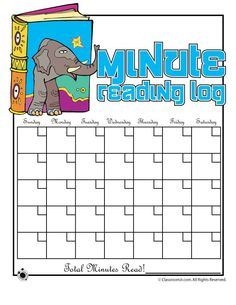 Printable Reading Logs Printable Minute Reading Log – Classroom Jr.