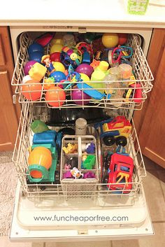 Disinfect kids toys in the dishwasher- gentle cycle, heated dry off.  Good idea!!