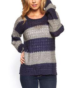 This Navy & Gray Sheer Stripe Sweater - Women is perfect! #zulilyfinds