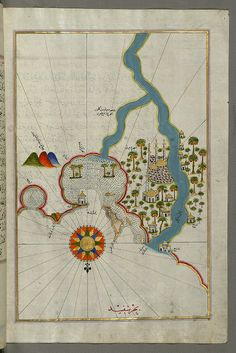 Illuminated Manuscript, Map of the city of Damietta (Shahr-i Dumyād) on the Egyptian coast from Book on Navigation, Walters Art Museum