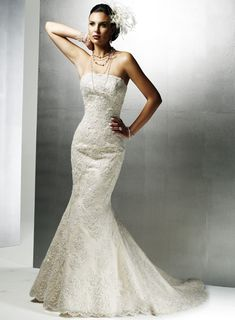 Strapless Natural waist Trumpet / Mermaid Lace wedding dress