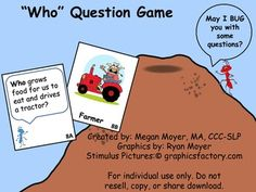 Who Question Game-FREE on Teachers Pay Teachers. Come visit and and follow me on TPT for more great speech and language activities!