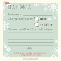 Free Printable Letter to Santa from Tinybeans