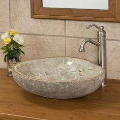 onyx mosaic, stone vessel, river stone, green onyx, bathroom idea, bathroom remodel, natur river, bathroom sinks, vessel sink