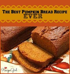"""Made this tonight!  Added apples and substitute half white sugar, half brown sugar, and I added a little vanilla extract:). Super Moist and airy delicious!  """"This is the Best Pumpkin Bread Recipe Ever: My family has been making this pumpkin bread for many, many years.  It turns out perfect every time."""""""