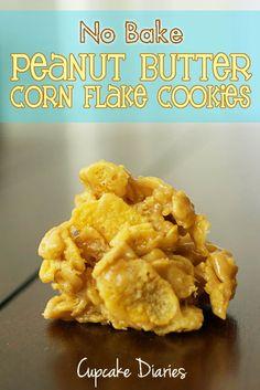 Cupcake Diaries: No Bake Peanut Butter Corn Flake Cookies
