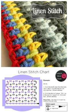 How to hook the linen stitch, tutorial by Dedri of Look At What I Made.  Very detailed instructions with step-by-step photos.  Start with an *even* number of foundation chain stitches.  ღ Trish W ~ http://www.pinterest.com/trishw/    #crochet