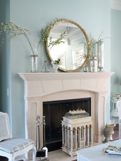 wall colors, blue, spring decor, sherwin william, fireplace mantels, paint colours, bird nests, mantle decorating, paint colors