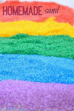 color mix, sand art, art crafts, food coloring, sensory play