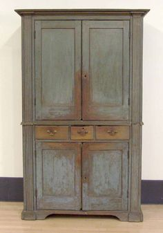 """Mid Atlantic painted pine and poplar two part wall cupboard, late 18th c. retaining an excellent early blue surface, 83 1/2"""" h., 47 3/4"""" w."""