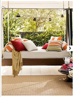 idea, swing beds, porch swings, hanging beds, dream, patio, hous, porches, outdoor swings