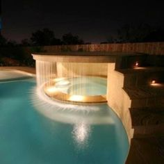 Waterfall in the hot tub