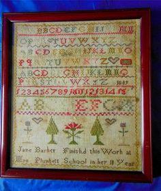 Beautiful Antique Georgian Sampler 1809 Jane Barker Aged 10 Mrs Plunketts School
