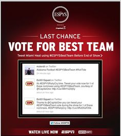 This email from ESPN for The ESPYS Awards included live social media chatter and deep linked to Twitter with a pre-populated tweet. Click the image to learn more. #emailmarketing #socialmedia