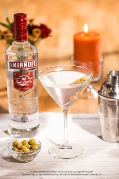 You're just three ingredients away from a totally classy evening. Just put 1.5 oz of Smirnoff No. 21 Vodka and .25 oz of dry vermouth in a cocktail shaker with ice. Pour into a martini glass. Garnish with a toothpick filled with olives and you're ready for this classic creation.