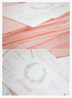 peach envelopes and floral wreathe invitations
