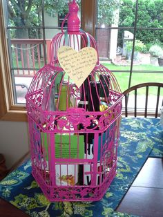Bridal Shower (or Wedding) Wine Poem Basket (or Birdcage)  6 bottles of wine tagged with 6 poems for Mr. & Mrs. to celebrate 6 milestones (in no order...): Wedding Night, First Baby, First Dinner Party, First Fight, First Anniversary, First Christmas
