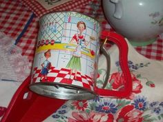 Vintage Sifter 50s kids mom pie teapot red white checks