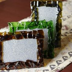 Recycled Wine Bottle Picture Frame custom made by Bayside Wire Designs Handcrafted Jewelry and More...