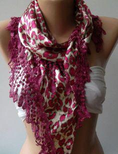 Elegance  Shawl / Scarf with Lacy Edge fuchsia leopard by womann, $19.00