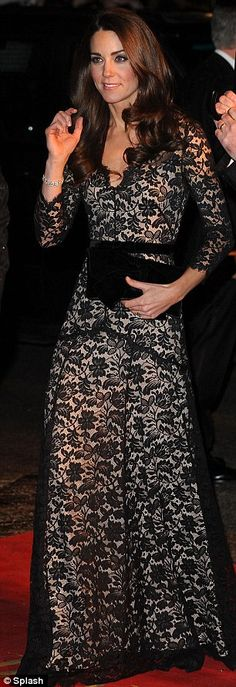 This dress is AMAZING. Kate Middleton wearing lace Alice Temperley, spent the eve of her 30th birthday (8 Jan) at the War Horse premiere in London. - 9 January 2012. This links to 30 facts for her 30th b'day.