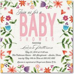 Linen Blossoms - Baby Shower Invitations