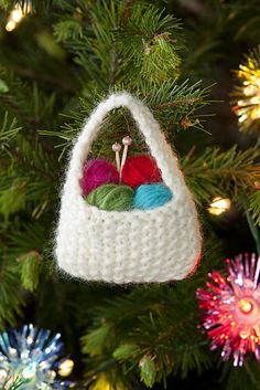 Knitting Basket Ornament - free pattern on Ravelry.