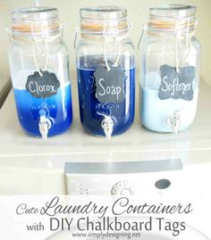 Get crafty with these DIY mason jar laundry soap containers & chalkboard tags