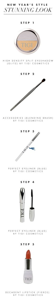 Follow these steps for a quick NYE makeover 1. Celebrate with a glitzy gold eye shadow 2. Brighten your eyes with a blue eyeliner 3. Thicken your eyelashes with mascara to make your eyes stand out. 4. Choose a daring lip shade  Bonus step 5. BE STUNNING!