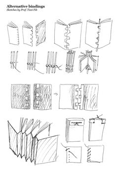 A variety of book binding techniques.