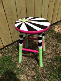 Funky wooden stool by FunkyMonkeyDesigns12 on Etsy, $45.00