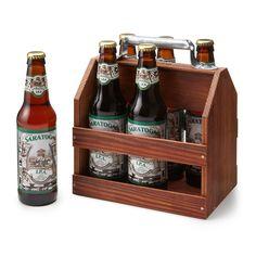 WOODEN 6 PACK BEER TOTE | beer holder, carrier | UncommonGoods