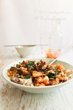 Recipe: Fish Bibimbap (Korean Mixed Rice) and Spinach Namul